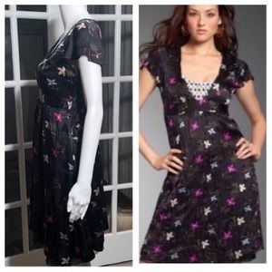 Free people black silk floral dress